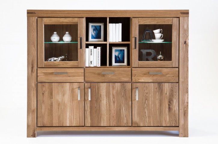 Highboard XL Wildeiche massiv geölt Serie Kreta
