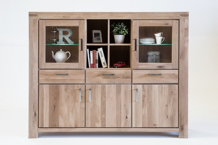 Highboard XL Wildeiche sonoma massiv geölt Serie Kreta