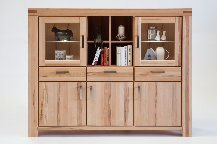 Highboard XL Kernbuche massiv geölt Serie Kreta