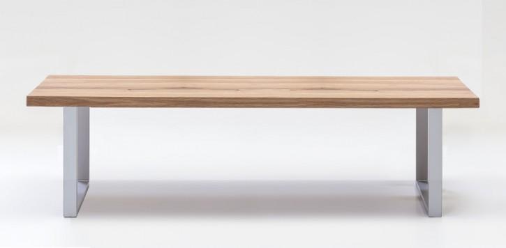 Sitzbank 180x40 cm Wildeiche naturbelassen massiv mit Metallfüssen