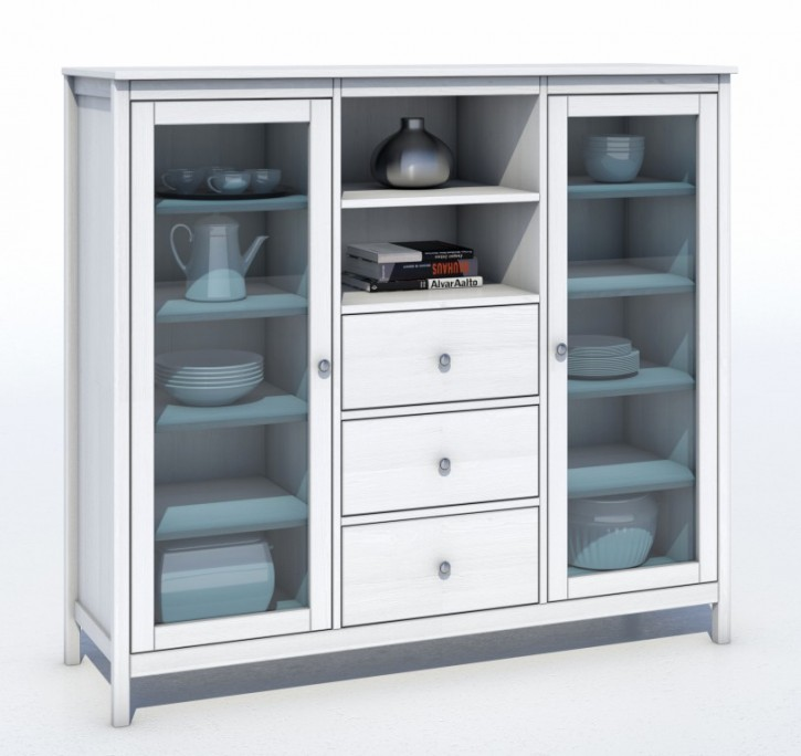 vitrine highboard kiefer massiv elf659 e871 fehmarn feelings. Black Bedroom Furniture Sets. Home Design Ideas