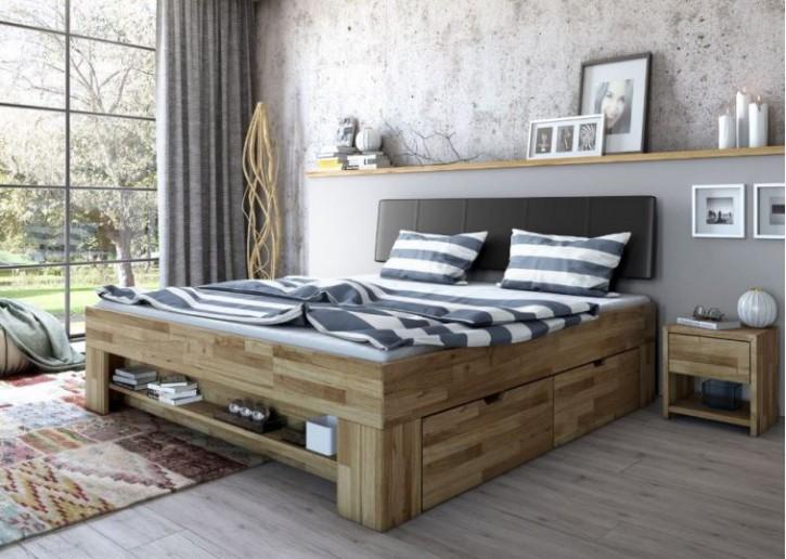 Futonbett Wildeiche massiv geölt ohne Bettkasten 140x200 cm
