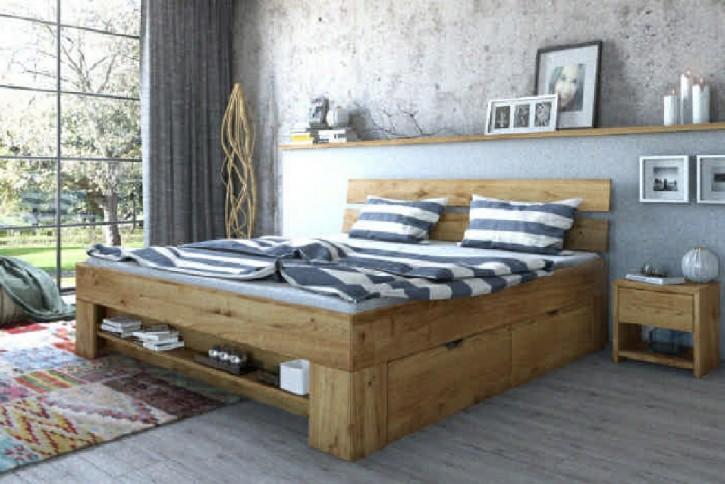 Futonbett Wildeiche massiv geölt mit Bettkasten 140x200 cm