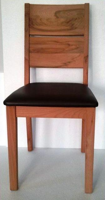 Stuhl Rom Kernbuche massiv geölt mit brauner Polsterung (2er Set)