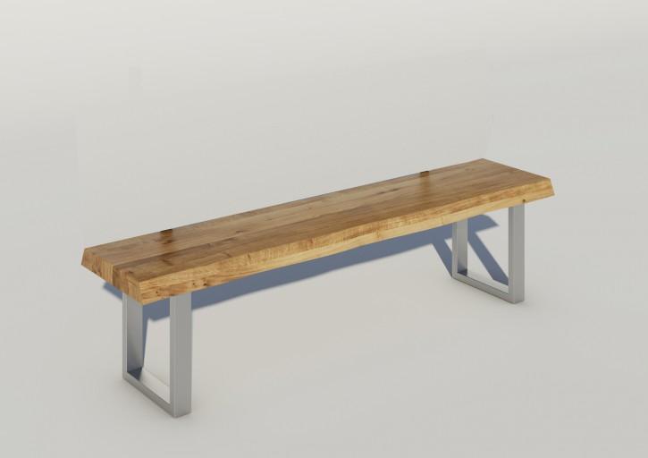 Sitzbank 160x40 cm Wildeiche massiv Baumkante mit Metallfüssen