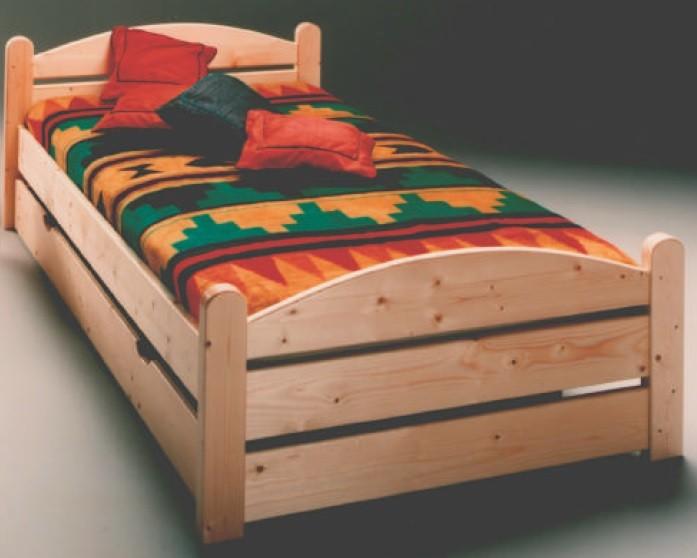 Bett mit Bettkasten und Rollrost Kiefer massiv lackiert