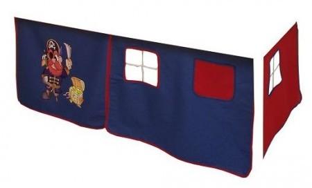 Vorhang Hochbett, Kinderbett Pirat blau rot Stoff 3-teilig incl.Kebeklett