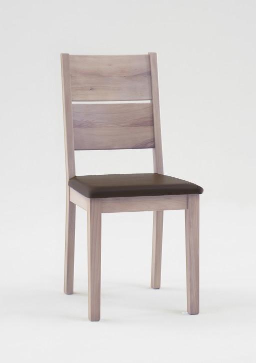 Stuhl Rom Wildeiche sonoma massiv geölt mit brauner Polsterung (2er Set)