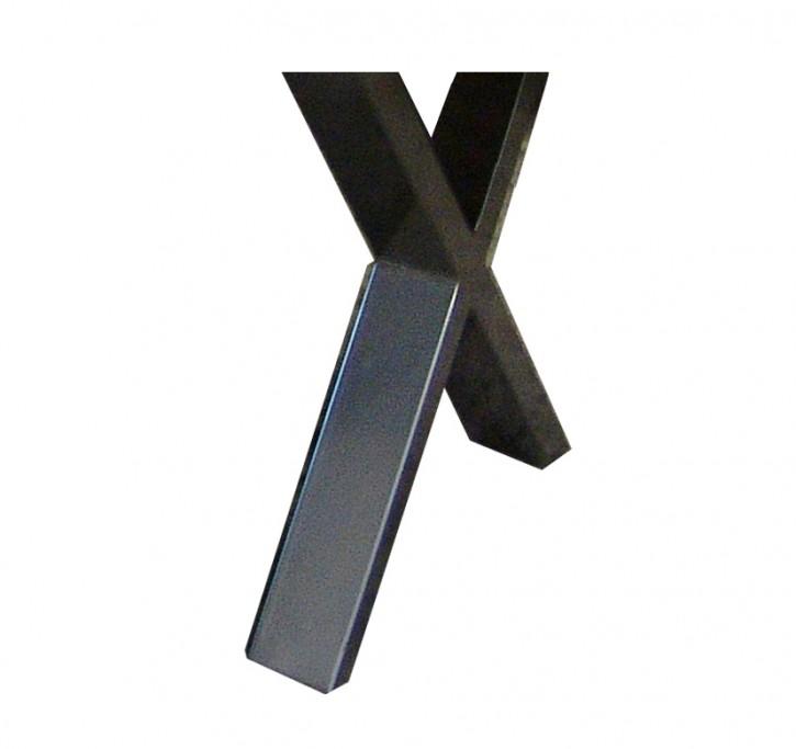 Fußgestell für flexibles Tischsystem X-Form 100x30 mm edelstahlfarbend