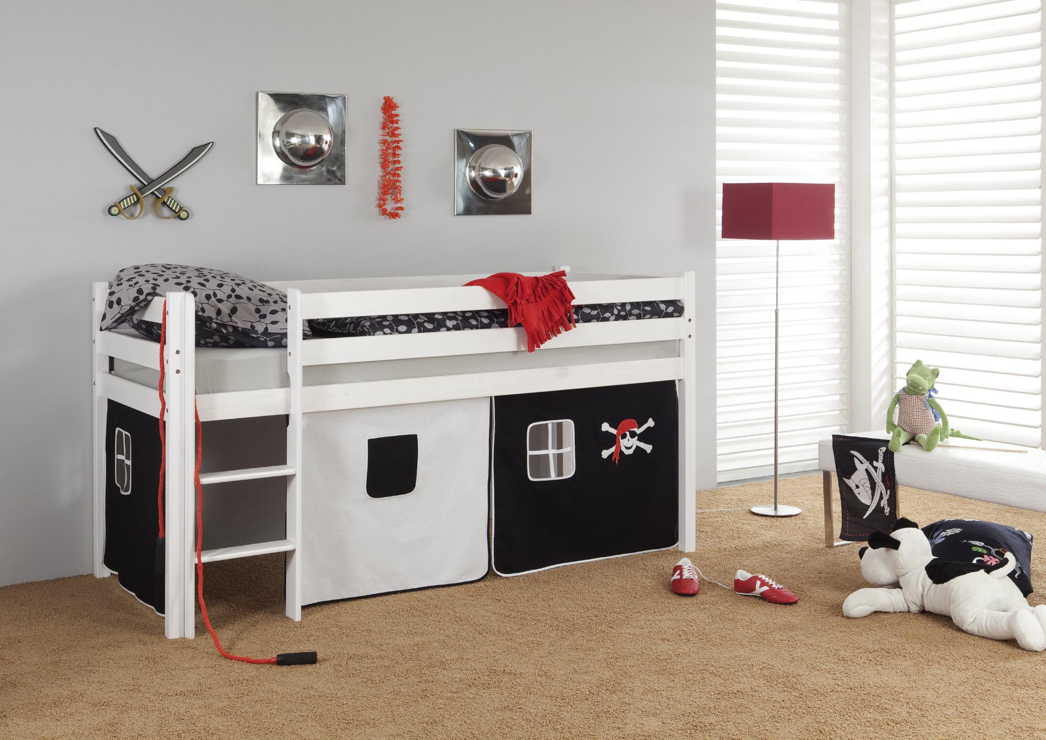 hochbett kiefer massiv wei mit vorhang seemann pirat jungen. Black Bedroom Furniture Sets. Home Design Ideas