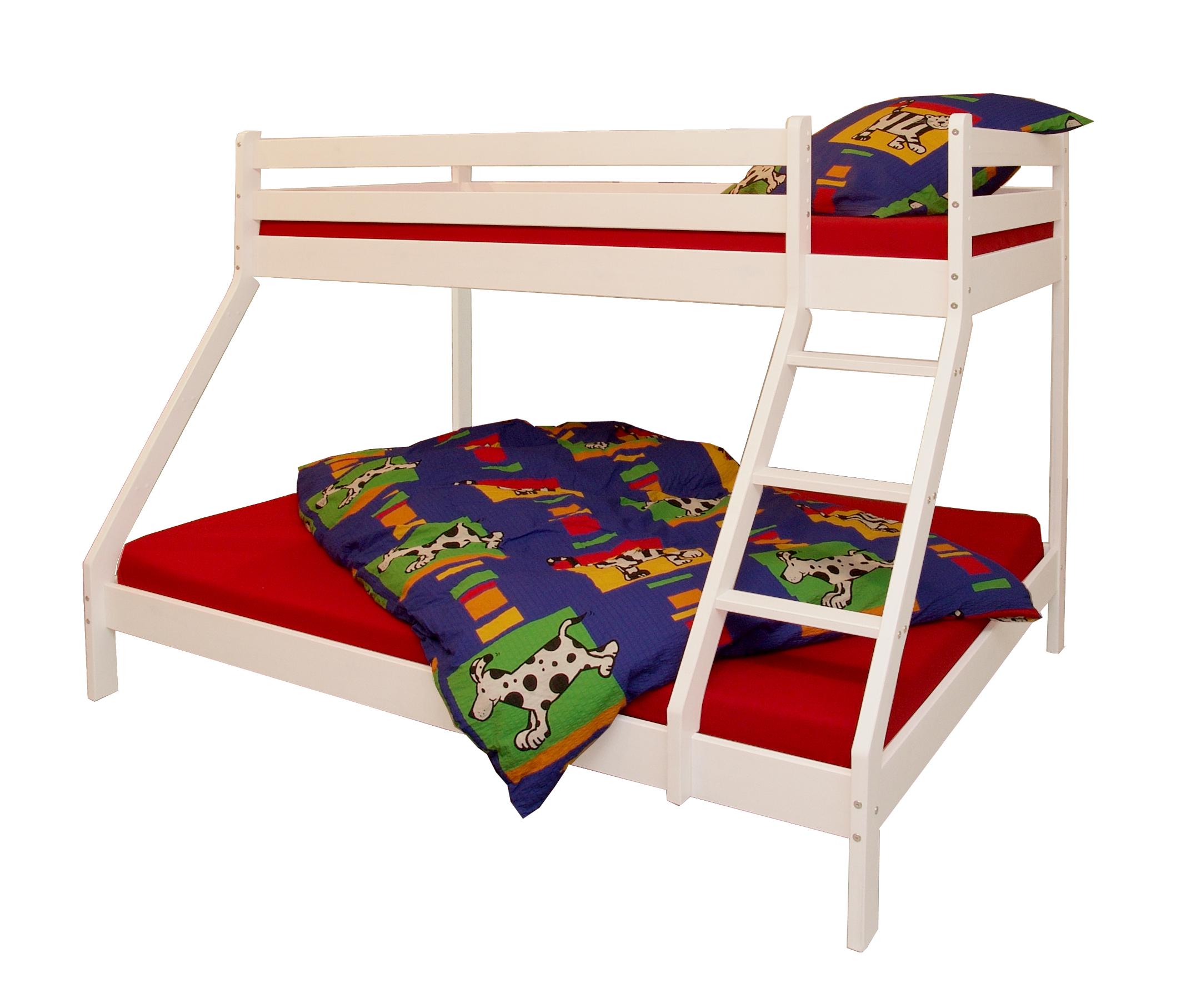 etagenbett mit 3 schlafpl tzen kiefer massiv wei. Black Bedroom Furniture Sets. Home Design Ideas