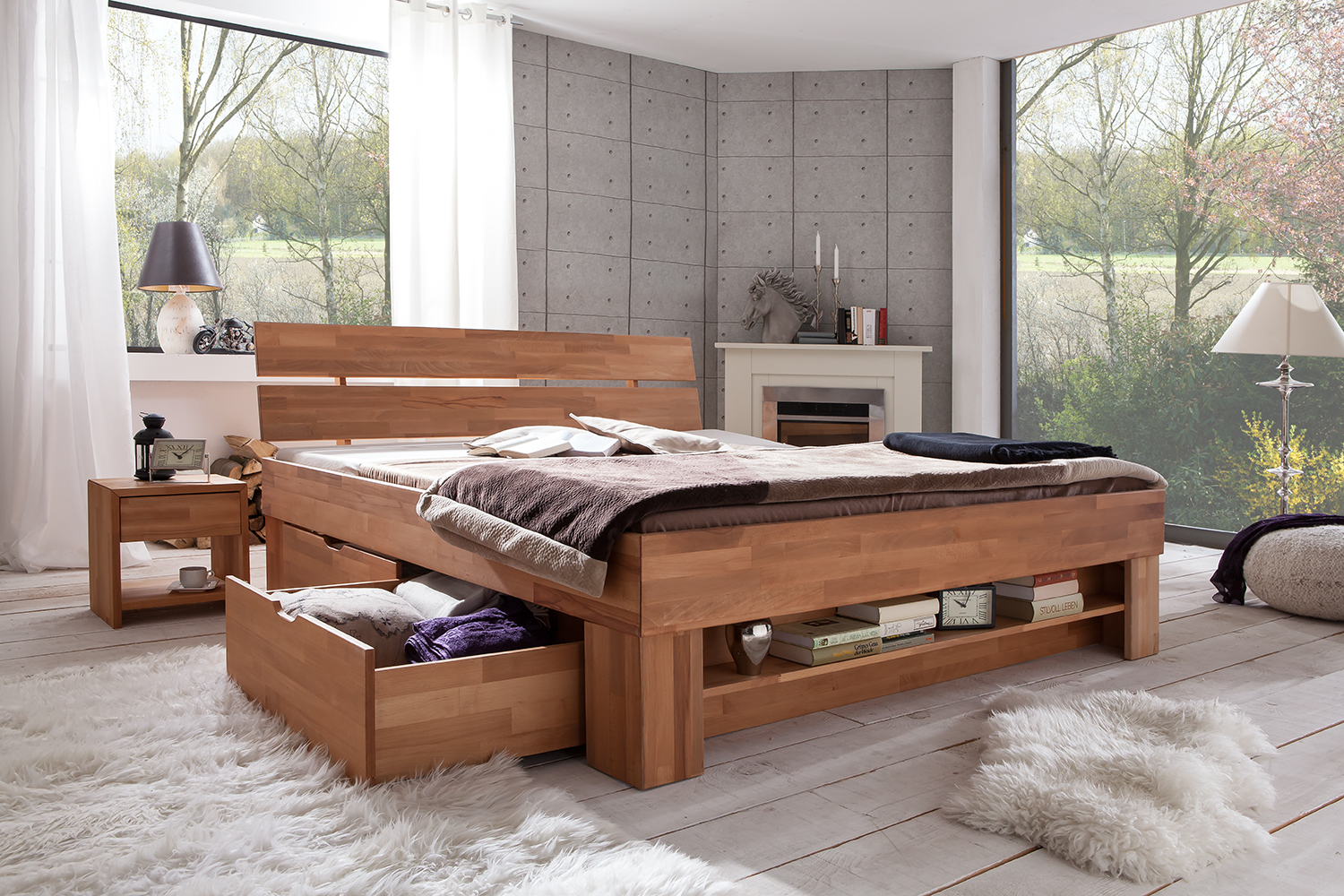 futonbett kernbuche massiv ge lt mit bettkasten sofie elfo. Black Bedroom Furniture Sets. Home Design Ideas