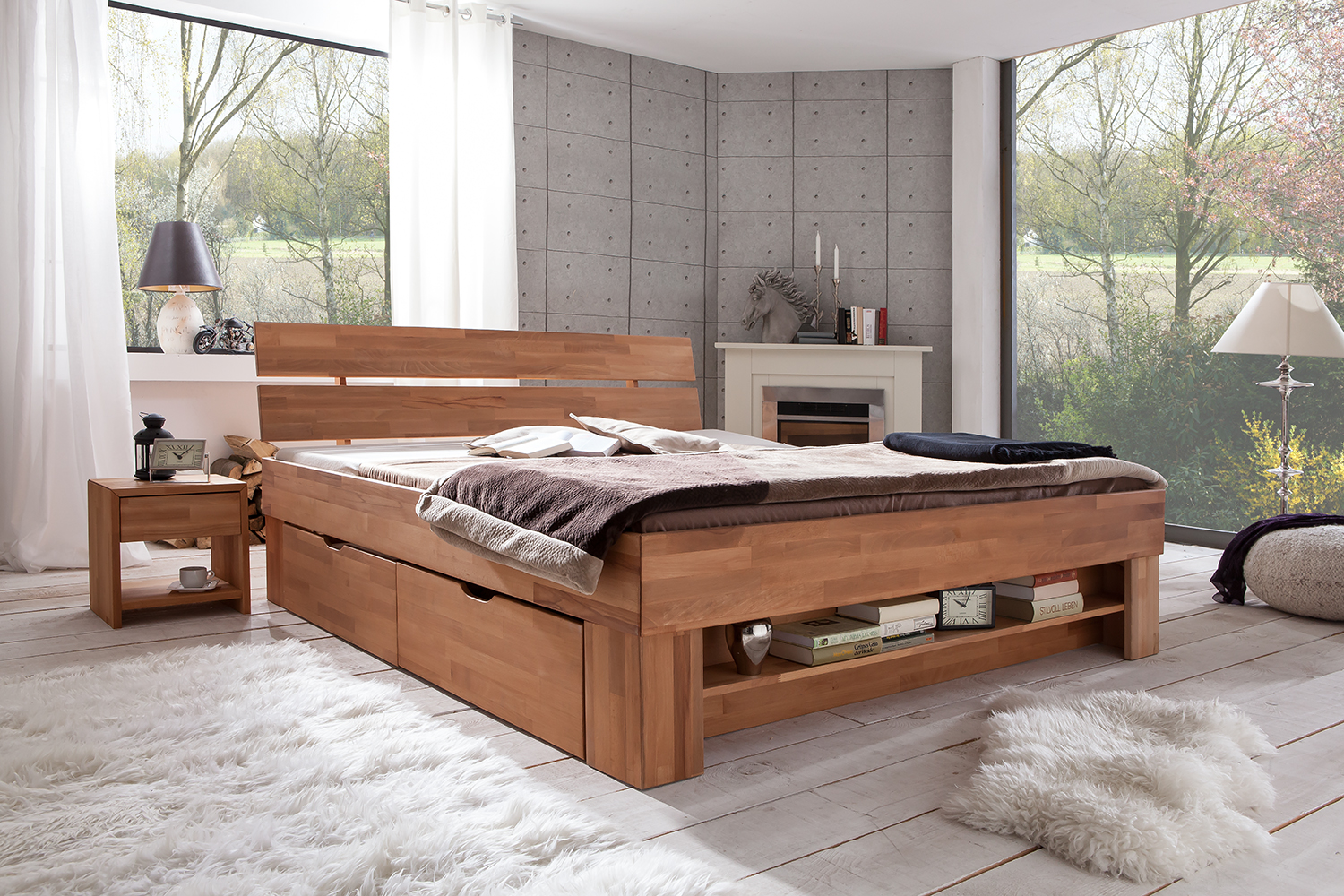 futonbett kernbuche massiv ge lt mit bettkasten 180x200. Black Bedroom Furniture Sets. Home Design Ideas